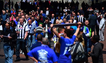 Grimsby Town fans arrive for a game at Wembley.