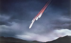 An artist's impression of a meteorite fall.