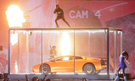 Another satire … Kendrick Lamar, top, performing at the Brits.