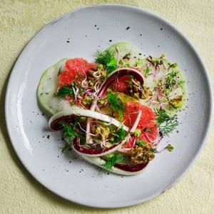 Kohlrabi and grapefruit salad