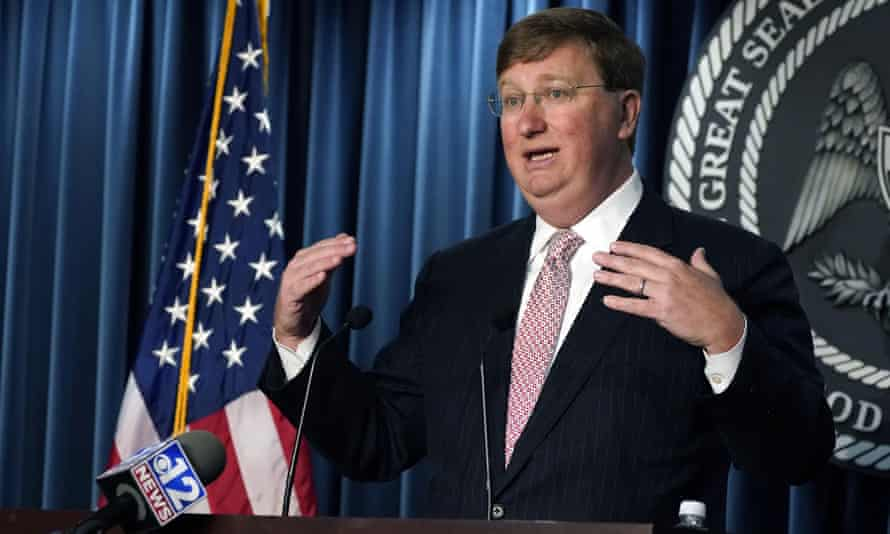 Mississippi governor Tate Reeves the Covid-19 pandemic, during a news briefing on 24 August 2021, in Jackson, Mississippi.
