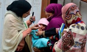 A polio vaccination campaign in Pakistan