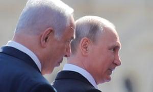 The Israeli prime minister, Benjamin Netanyahu, left, with Vladimir Putin in Moscow last week.