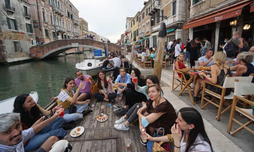 Aperitif time in Venice last week. Italy is expected to lift its Covid curfew soon.
