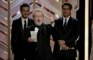 Director Ridley Scott accepts the award after The Martian won Best Motion Picture - Comedy