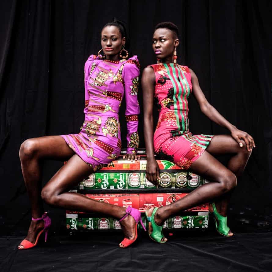 Models Amy Faye and Sachakara Dieng wear creations by Adama Ndiaye in Dakar, July 2012