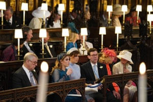 The Duke of York, Princess Beatrice, Princess Eugenie and Jack Brooksbank await the wedding ceremony