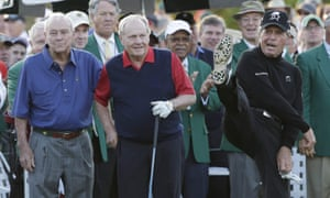 Gary Player does a high kick after he, Arnold Palmer and Jack Nicklaus hit their honorary first tee shots