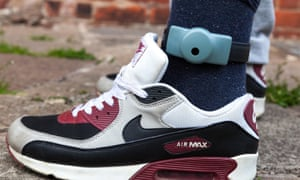 An electronic ankle tag used to monitor offenders