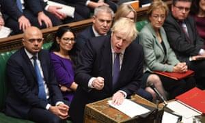 Boris Johnson speaks during the Brexit withdrawal bill debate.