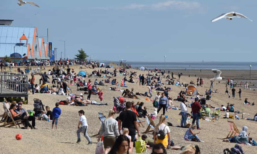 The beach in Southend on Sea, England, 17 May.