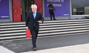 Boris Johnson at Heathrow on his way to the UN General Assembly in New York in September 2019