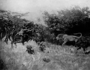 'The first and possibly the only photograph ever taken of a Masai lion hunt'