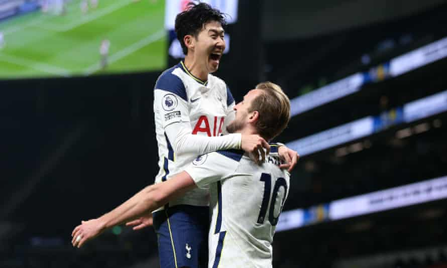 Harry Kane and Son Heung-min celebrate after Kane scored Tottenham's second goal, set up by Son, in their 2-0 victory over Arsenal