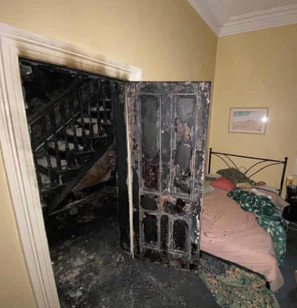 A bedroom in the fire-hit home