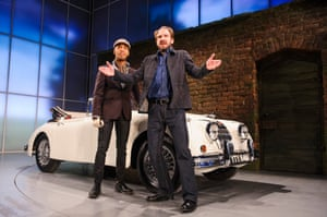 Elliot Barnes-Worrell as Straker and Fiennes as Jack Tanner in Man and Superman by George Bernard Shaw at the National Theatre, London, directed by Simon Godwin and designed by Christopher Oram, in 2014.
