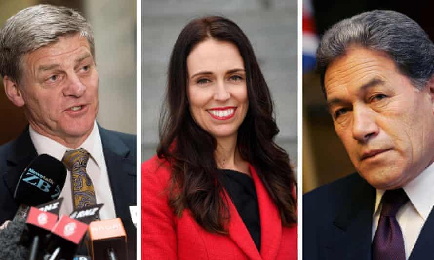 Prime minister Bill English (L) and Labor leader Jacinda Ardern (C), Winston Peters (R)