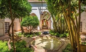 Courtyard at Riad Berbere, Marrakech, Morocco.