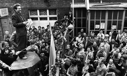 Lech Wałęsa speaks to workers during a strike at the Gdansk shipyard in 1980.