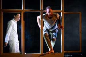 Odin Lund Biron, right, in a rehearsal of Outside, by Kirill Serebrennikov.