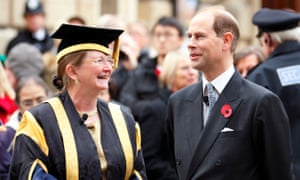 Prof Dame Glynis Breakwell, vice-chancellor of the University of Bath, with Prince Edward, Earl of Wessex.