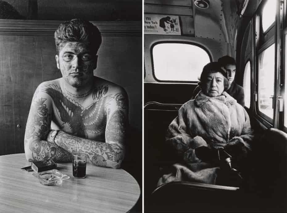 Jack Dracula at a bar, New London, Conn. 1961, left, and Lady on a bus, NYC 1957 by Diane Arbus.