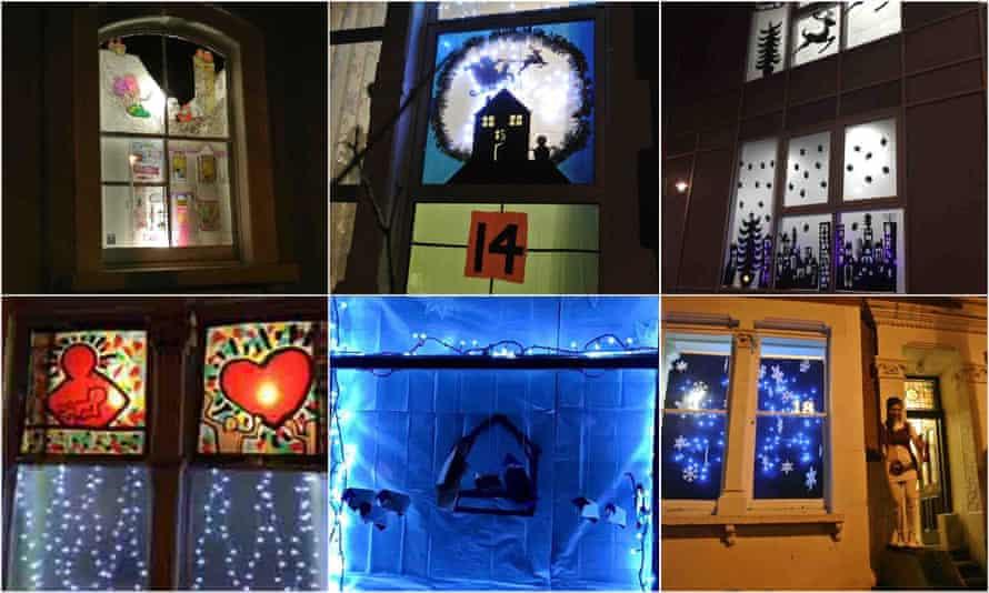 Windows 13-18: hand-drawn house, Santa silhouette, Whitehall Park school, loving family, nativity and gogo dancers.