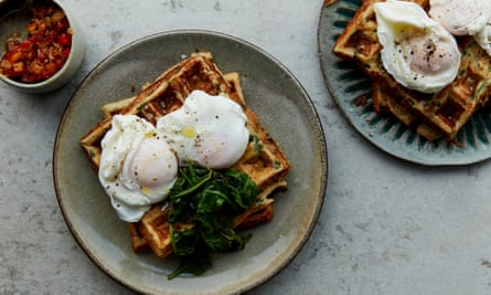 Savoury cream cheese waffles with spinach.