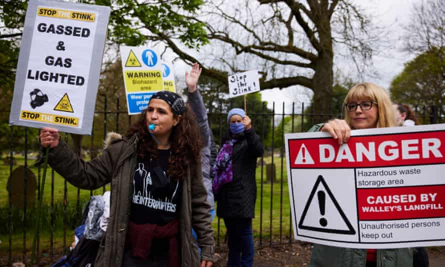 Sian Rooney (right) at a protest outside Walley's Quarry landfill earlier this year.