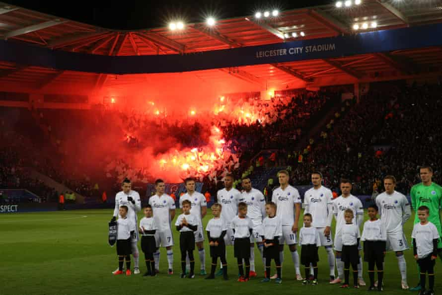 FC Copenhagen fans let off flares ahead of the Champions League match between Leicester City and FC Copenhagen