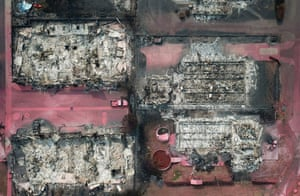 An aerial view shows properties destroyed by the Almeda fire in Talent.