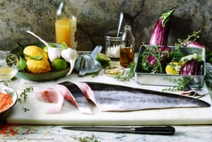 A still life of cobia/black kingfish with recipe ingredients and a calendar project