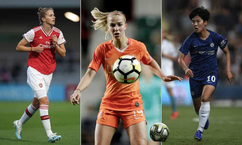 Arsenal's Vivianne Miedema, Jackie Groenen of Manchester United and the Netherlands and Chelsea's Ji So-Yun. Photographs by Getty Images