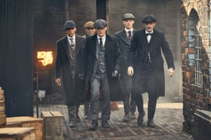 Murphy as Tommy Shelby with his gang in Peaky Blinders series four. Photograph: Robert Viglasky/Caryn Mandabach/BBC