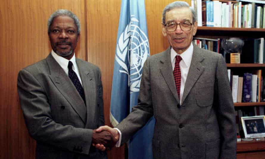 Boutros-Ghali, right, with Kofi Annan at the UN in New York in 1996.