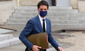 French Secretary of State and Government's spokesperson Gabriel Attal leaves after the weekly cabinet meeting at The Elysee Presidential Palace in Paris on March 10, 2021.