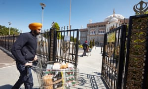 The Guru Nanak Darbar gurdwara receives food donated by locals and Gravesend council.