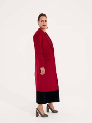 Long red coat Marks and Spencer, black dress Cos, olive colour shoes Senso, large hoop earrings Senso