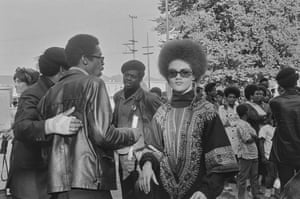 Pirkle Jones, Kathleen Cleaver and Black Panthers, Free Huey Rally, Bobby Hutton Memorial Park, Oakland, No 66 from A Photographic Essay on the Black Panthers.