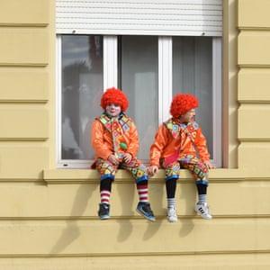 Clowning around on a window ledge