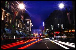 Shaftesbury Avenue, London, by night
