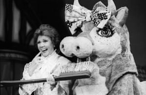 Cilla Black in Jack and the Beanstalk at the Piccadilly theatre, 1991.