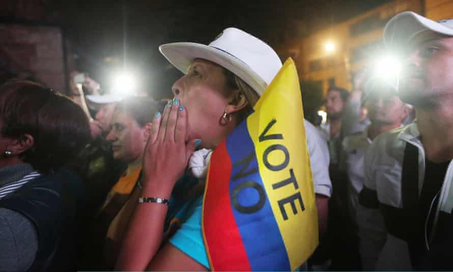 'No' supporters gather at a rally in Bogotá following their victory in the referendum on a peace accord to end the 52-year-old guerrilla war between the FARC and the Colombian state.