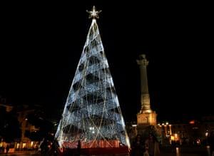 The tree in Rossio Square in Lisbon, Portugal