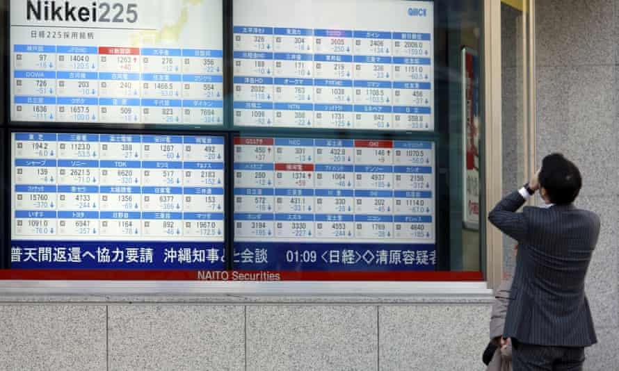 A man looks at an electronic stock board showing Japan's Nikkei 225. The volatility affecting global markets last month appears set to continue.