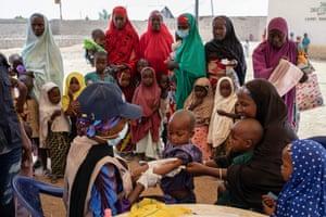 Children are assessed for malnutrion in Anka