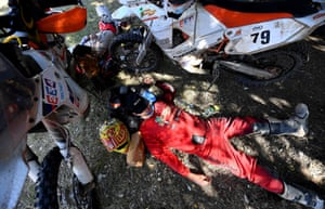 Duust Rally Team's Todd Smith rests at the bivouac