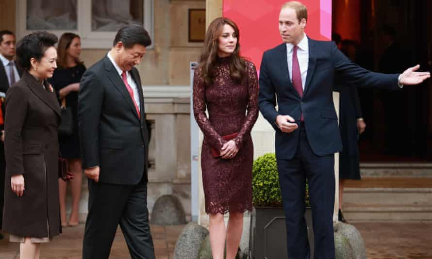 The Duke and Duchess of Cambridge welcome the Xi Jinping and his wife, Peng Liyuan, at the creative collaborations event.