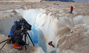 BBC crew in Patagonia, 2006, obtaining ice samples and filming