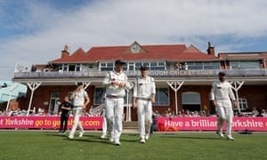 Yorkshire's players take to the field in Scarborough.